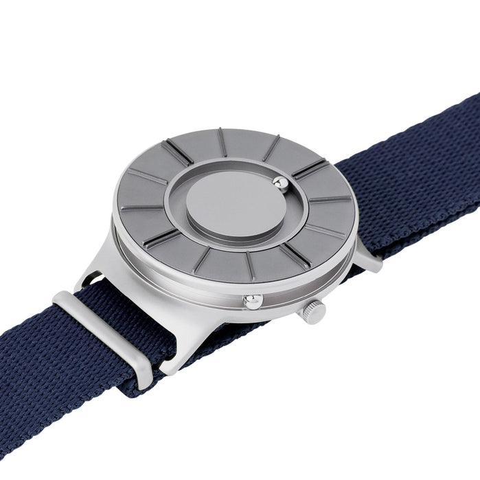Eone Bradley Apex NATO Silver Midnight Blue angled shot picture