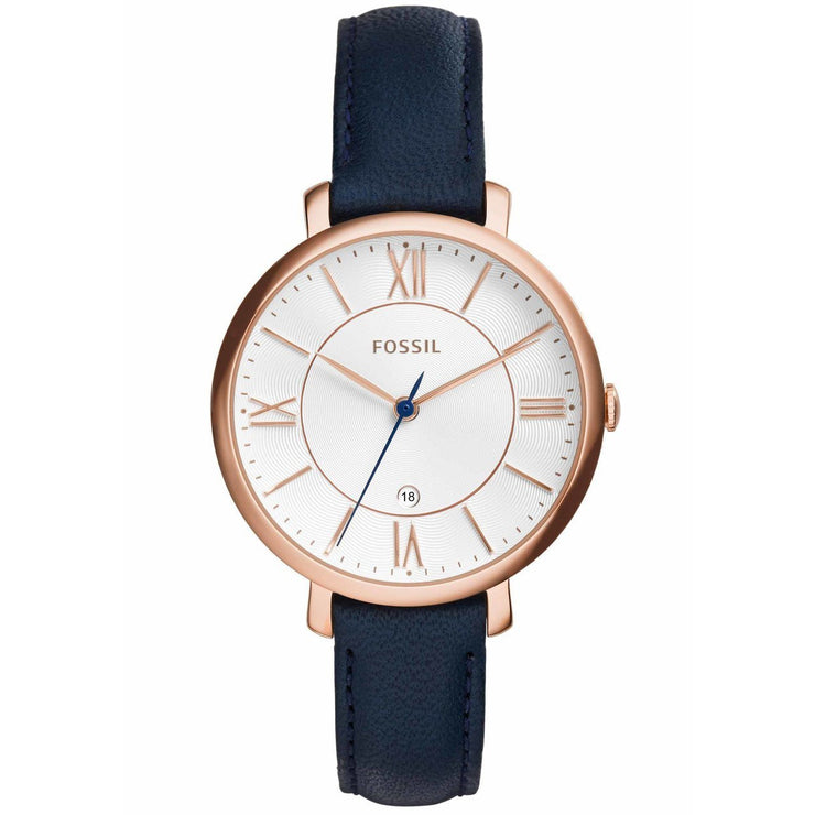Fossil Jacqueline Rose Gold Navy Leather