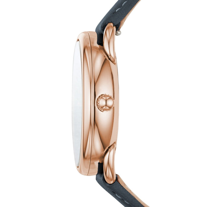 Fossil Tailor Multifunction Rose Gold Navy Leather angled shot picture