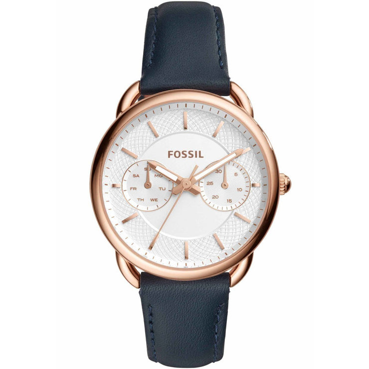 Fossil Tailor Multifunction Rose Gold Navy Leather