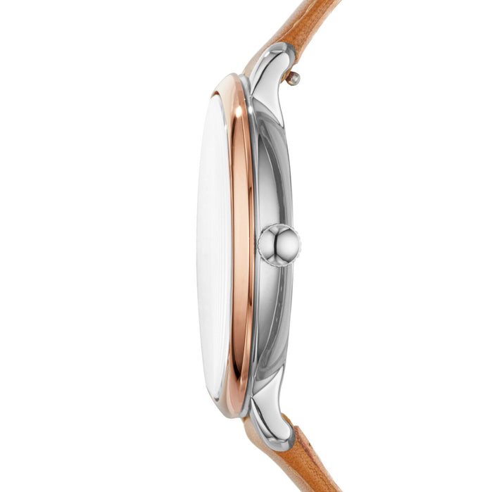 Fossil Jacqueline Navy Tan Leather angled shot picture