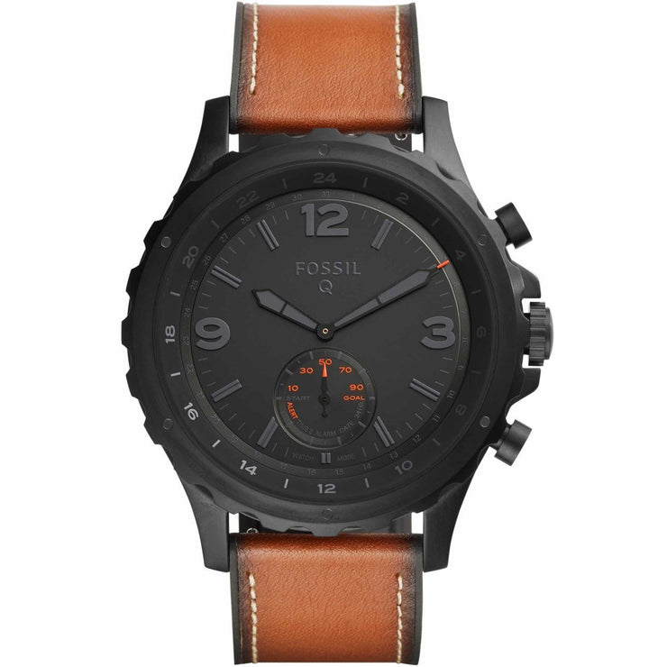 Fossil FTW1114 Hybrid Smartwatch Q Nate Black Brown Leather