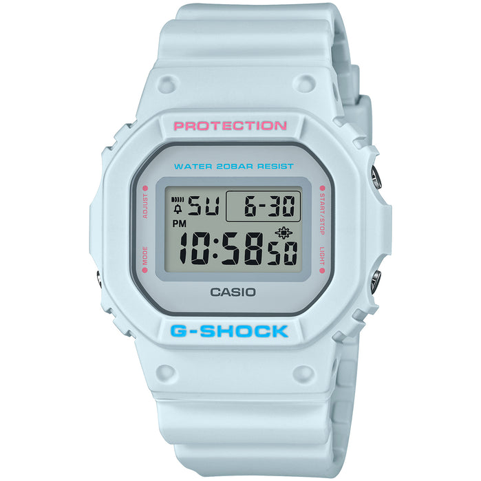 G-Shock Pastel Youth DW5600SC-8 Blue angled shot picture