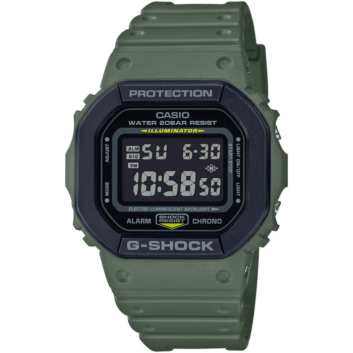 G-Shock Layered Bezel DW5610SU-3 Green Khaki angled shot picture