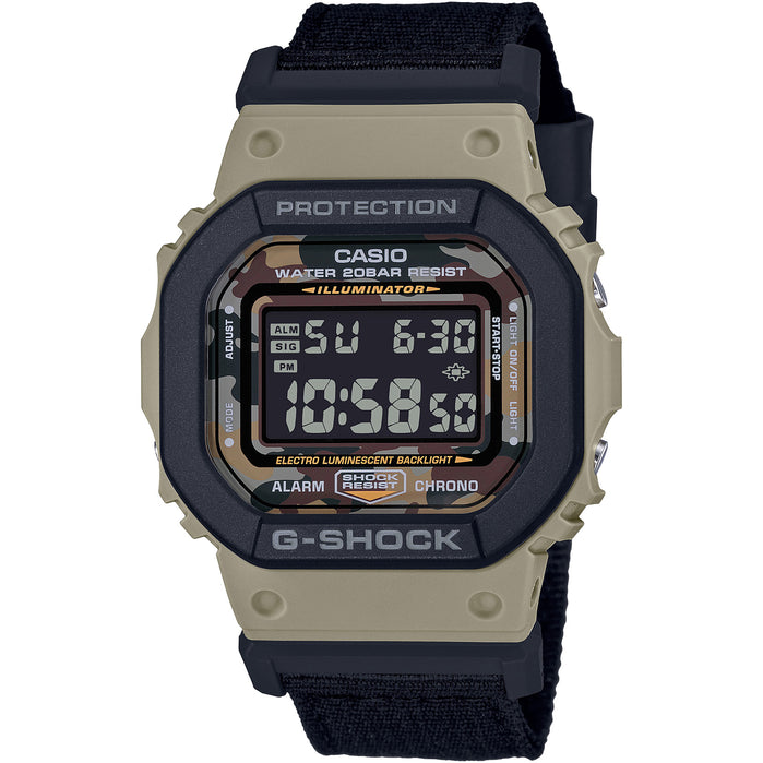 G-Shock Layered Bezel DW5610SUS-5 Khaki Black angled shot picture