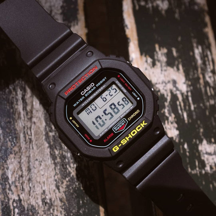 G-Shock DW5600 Black Rasta Edition angled shot picture