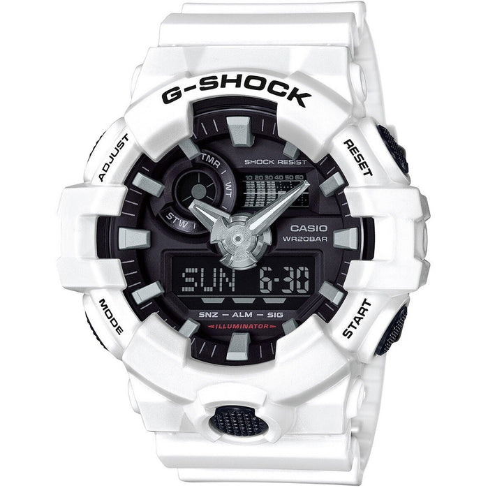 G-Shock GA-700 Ana-Digi White Black angled shot picture