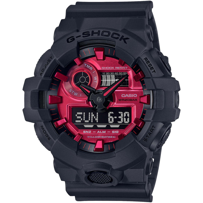 G-Shock GA700AR Ana-Digi Solar Red Black angled shot picture