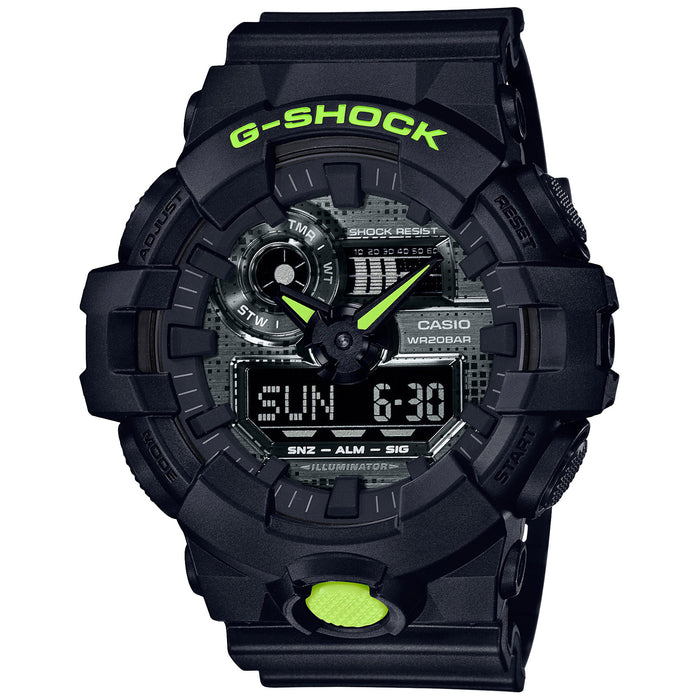 G-Shock GA700 Ana-Digi Digital Camo Black angled shot picture