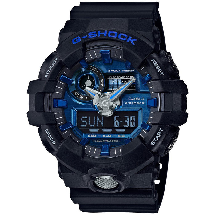 G-Shock GA-710 Ana-Digi Black Blue angled shot picture