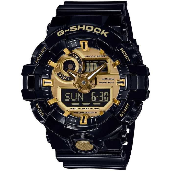 G-Shock GA-710 Ana-Digi Black Gold angled shot picture