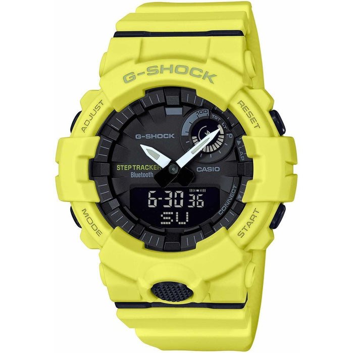 G-Shock GBA800 Bluetooth Step Tracker Training Timer Yellow angled shot picture