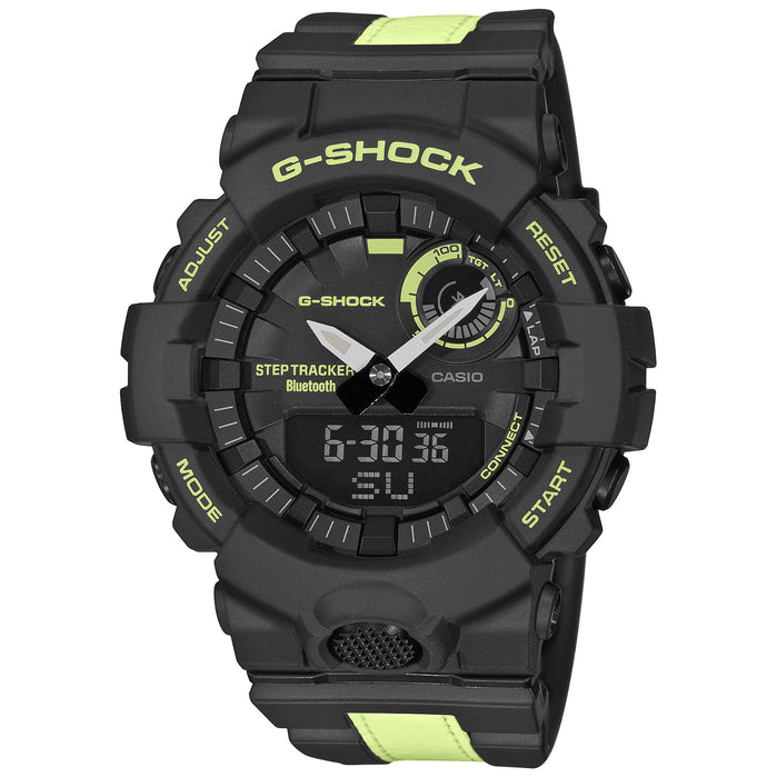 G-Shock GBA800LU G-Squad Connected Ana-Digi Black Yellow angled shot picture