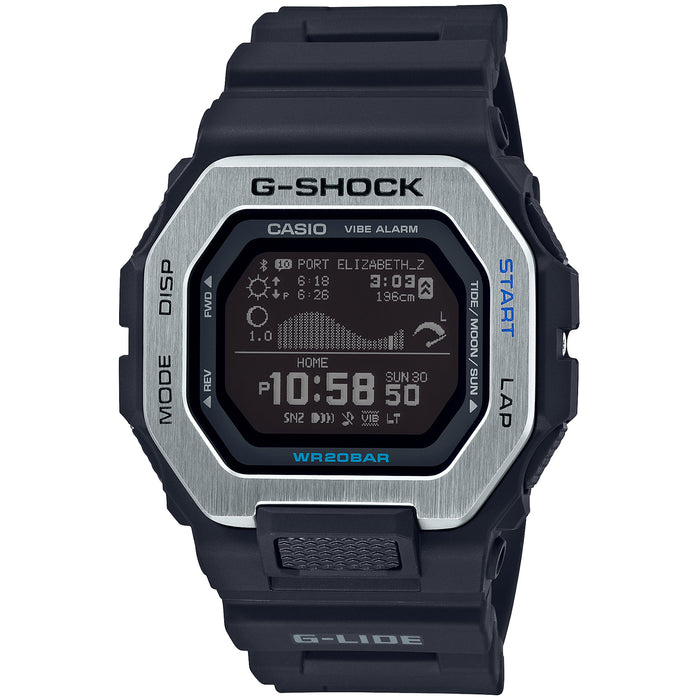 G-Shock G-Lide Tidal Connected GBX100-1 Black Silver angled shot picture