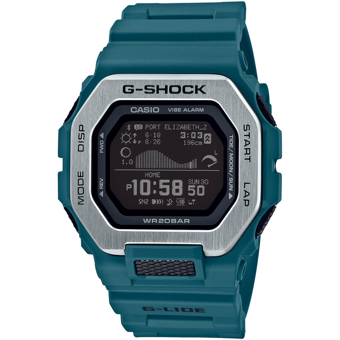 G-Shock G-Lide Tidal Connected GBX100-2 Teal Silver angled shot picture