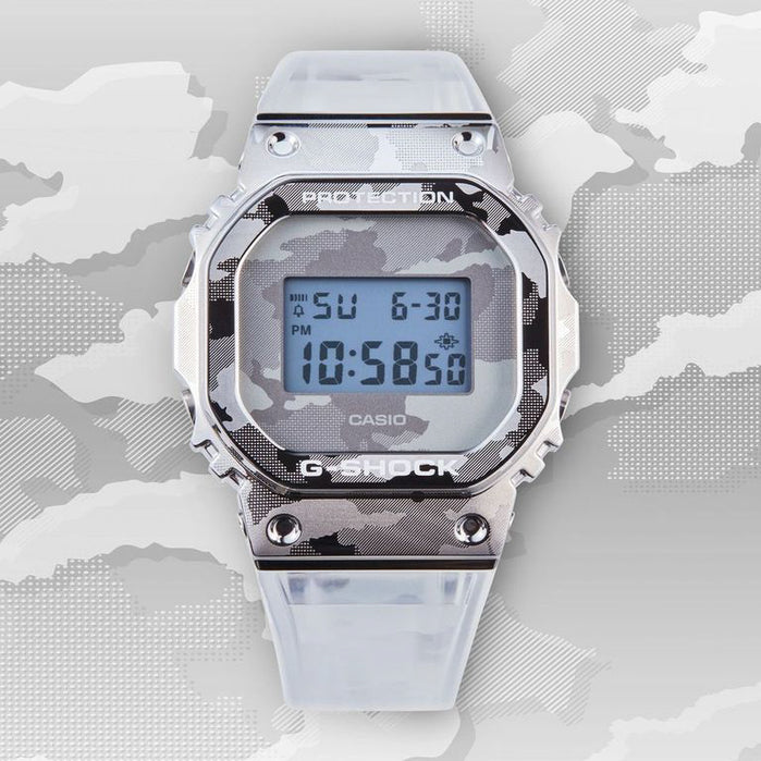 G-Shock GM5600SCM Metal Camo Silver Clear angled shot picture