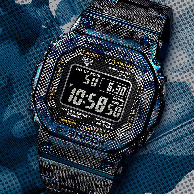 G-Shock GMWB5000TCF-2 Titanium Full Metal Blue Limited Edition angled shot picture