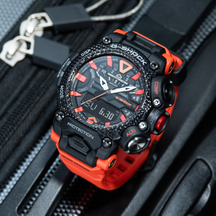 G-Shock GR-B200 Gravitymaster Connected Solar Black Red angled shot picture