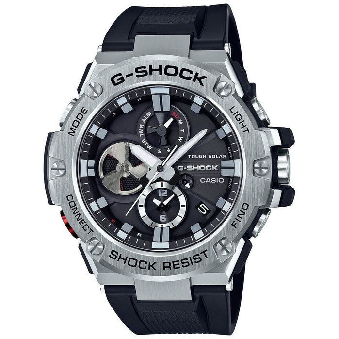 G-Shock GSTB100 G-Steel Connected Black Silver angled shot picture
