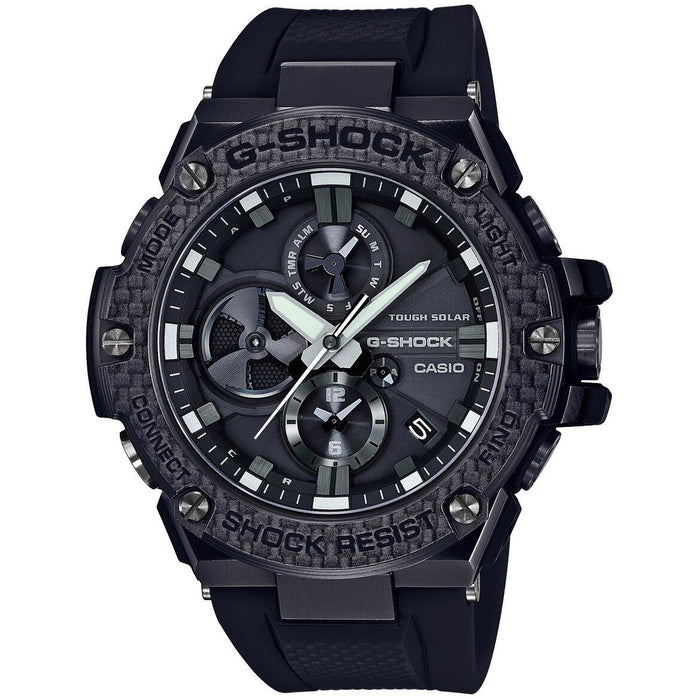 G-Shock GSTB100X G-Steel Connected Carbon Fiber Special Edition All Black angled shot picture