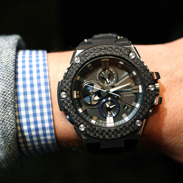 G-Shock GSTB100XA G-Steel Carbon Fiber Bezel Black Blue angled shot picture