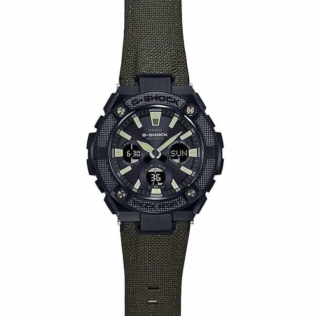 G-Shock GSTS130BC G-Steel Street Utility Cordura Green angled shot picture