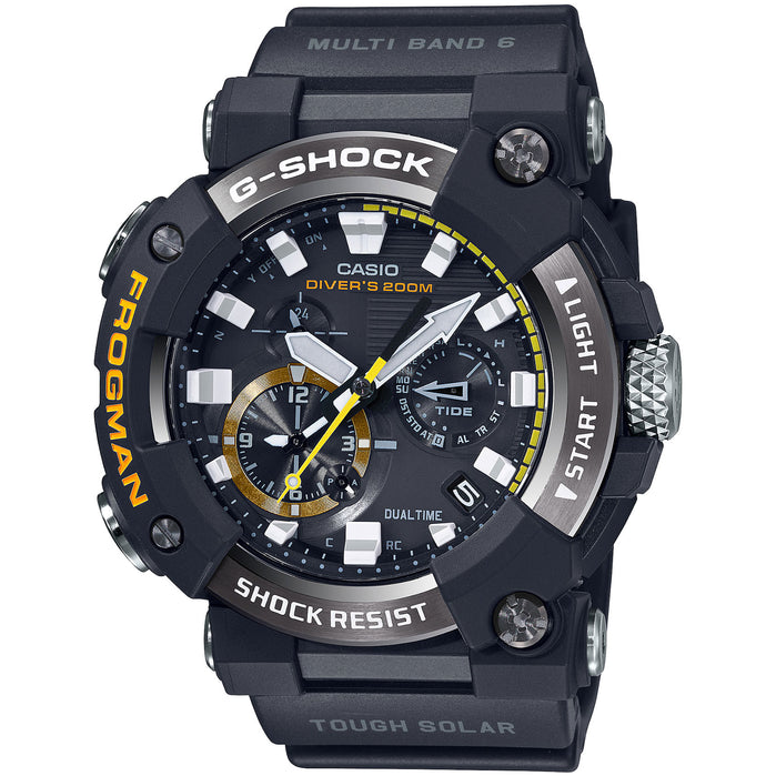 G-Shock Master-G Frogman Connected GWFA1000-1A Tide Solar Black angled shot picture