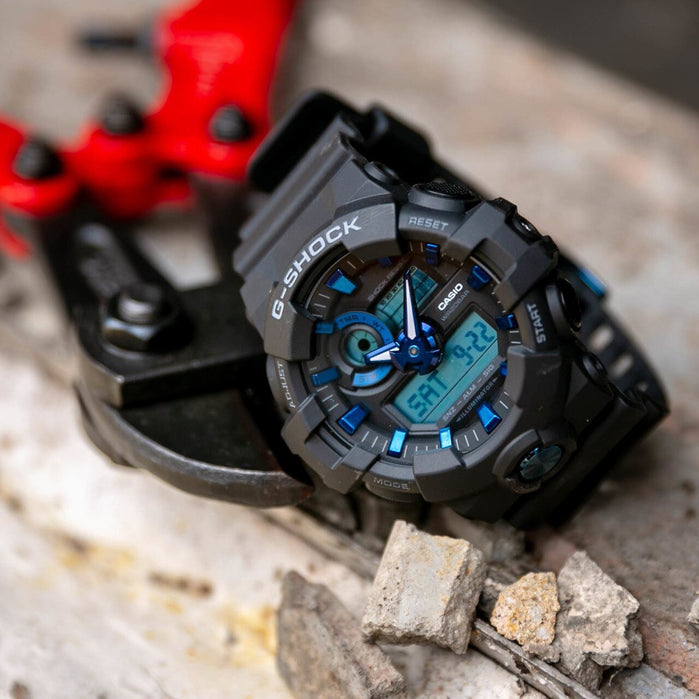 G-Shock GA-710 Ana-Digi Black Navy angled shot picture