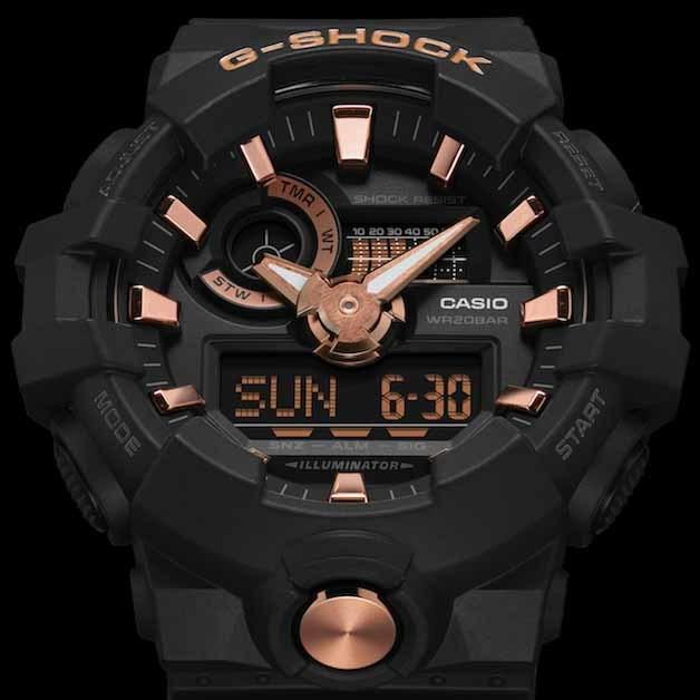 G-Shock GA710B Ana-Digi Black Rose Gold angled shot picture
