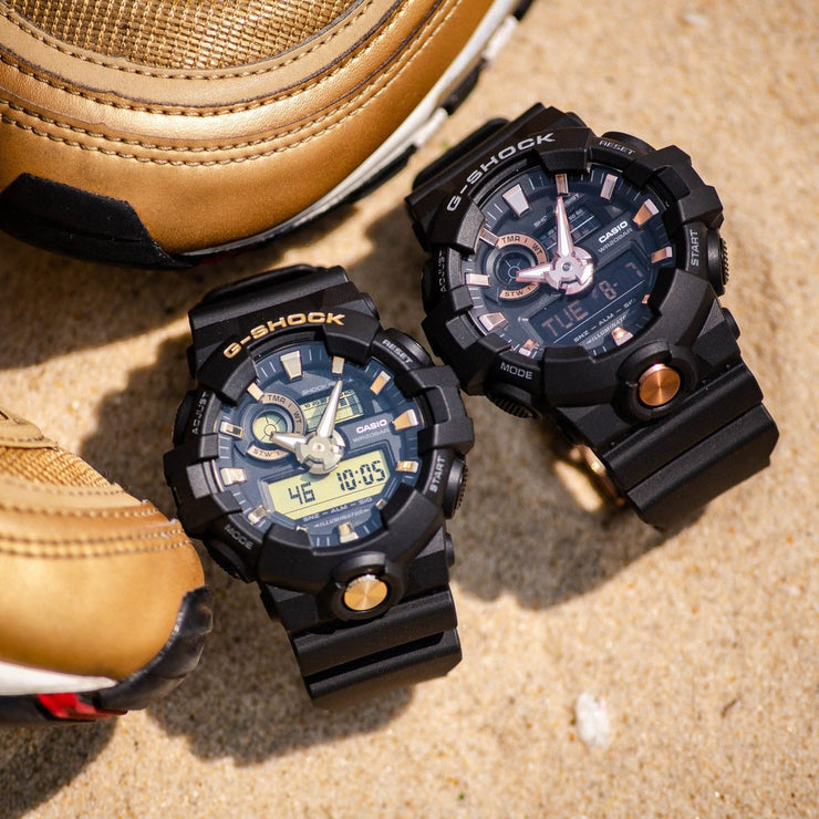 G-Shock GA710B Black Rose Gold