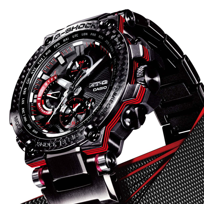 G-Shock MTGB100 Carbon Connected Solar Black Red angled shot picture