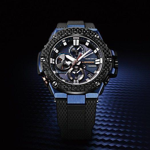 G-Shock GSTB100XB G-Steel Carbon Fiber Solar Blue angled shot picture