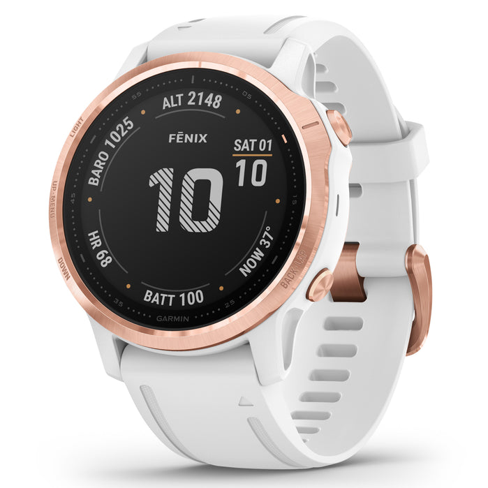 Garmin GPS Smartwatch fenix 6S Pro Rose Gold White angled shot picture