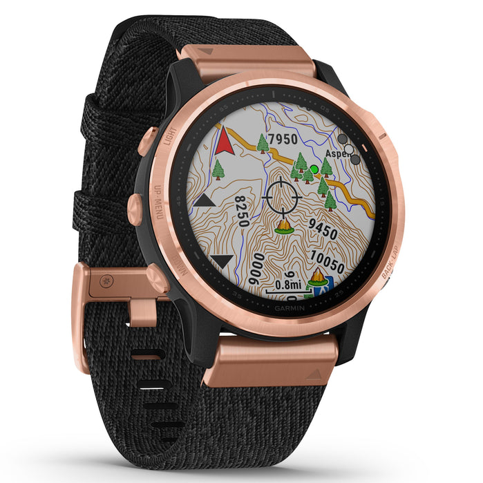 Garmin GPS Smartwatch fenix 6S Pro Sapphire Rose Gold Black angled shot picture