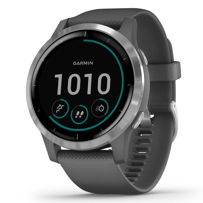 Garmin GPS Smartwatch vivoactive 4 Silver Grey angled shot picture