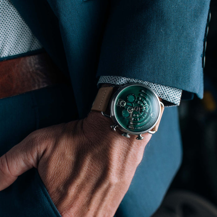 Xeric Halograph Chrono Sapphire Silver Pacific Green angled shot picture