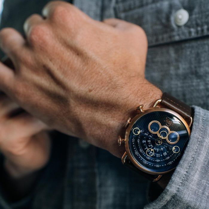 Xeric Halograph Chrono Sapphire Rose Gold Indigo angled shot picture
