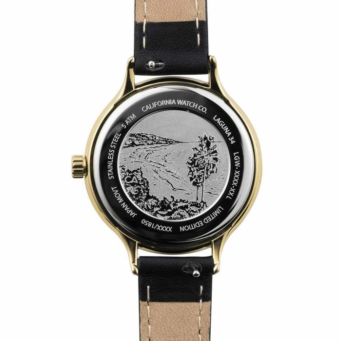 California Watch Co. Laguna 34 Leather Black Gold angled shot picture