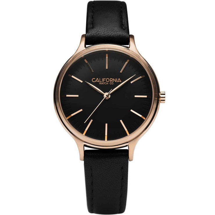 California Watch Co. Laguna 34 Leather Rose Gold Black