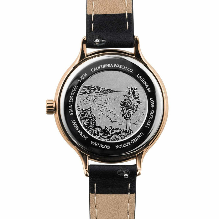 California Watch Co. Laguna 34 Leather Rose Gold Black angled shot picture