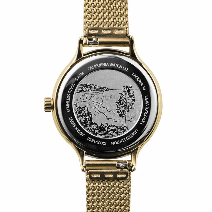 California Watch Co. Laguna 34 Mesh All Gold angled shot picture