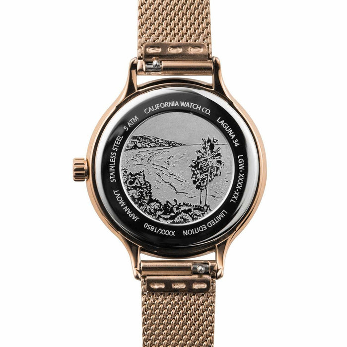 California Watch Co. Laguna 34 Mesh Rose Gold Black angled shot picture