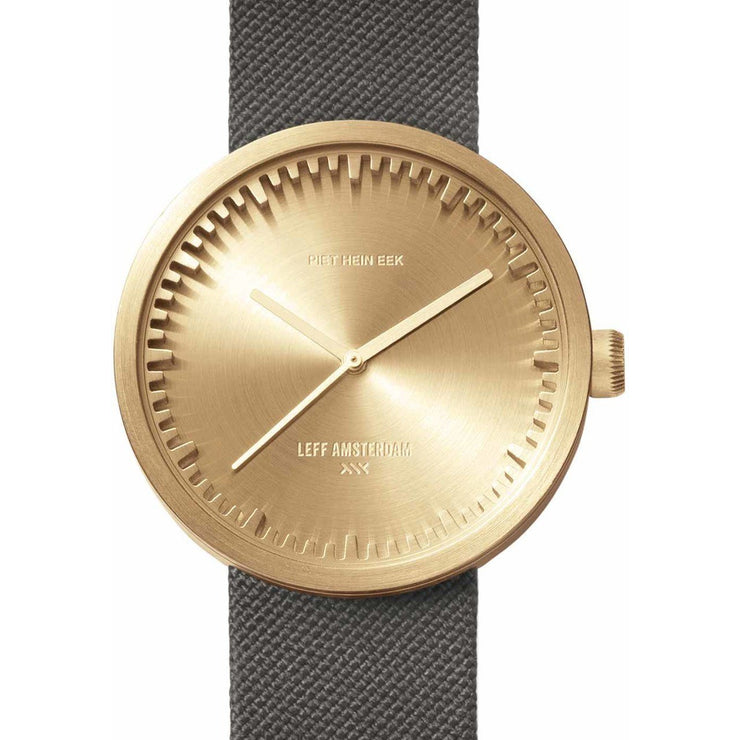 LEFF Amsterdam Tube Watch D42 Brass Grey Cordura