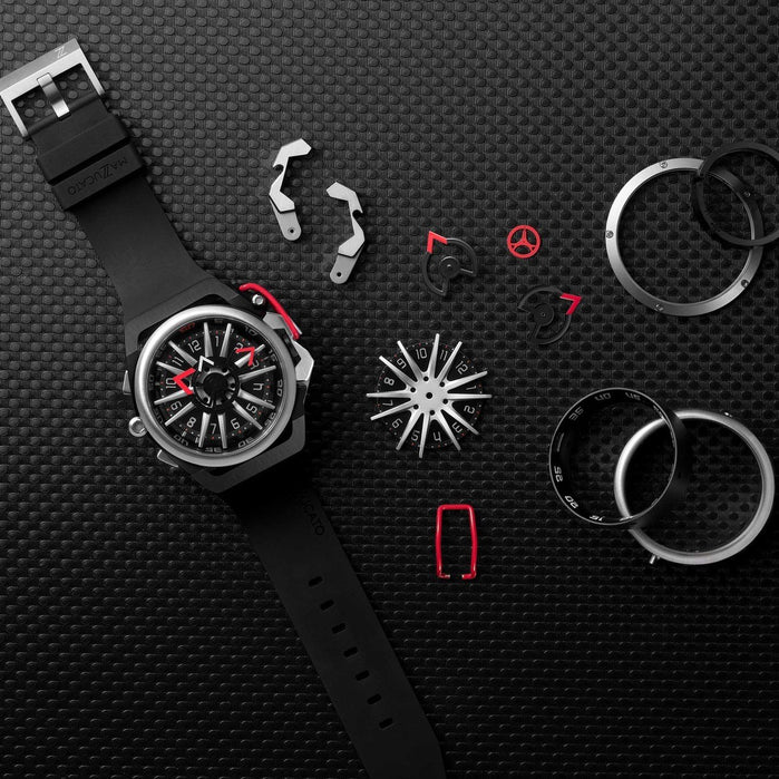 Mazzucato RIM Reversible Automatic Black Red angled shot picture
