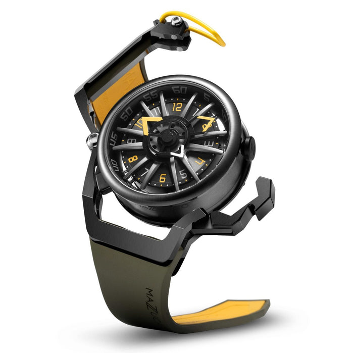 Mazzucato RIM Reversible Automatic Black Yellow angled shot picture