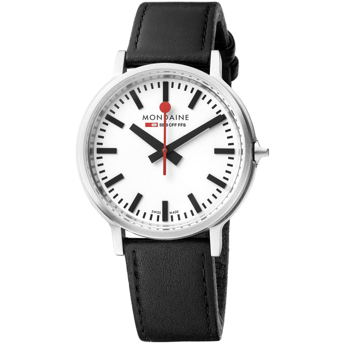 Mondaine stop2go Backlight 41mm Swiss White Red angled shot picture