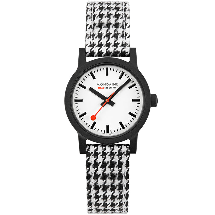 Mondaine Essence Sustainable Materials 32mm Black Houndstooth angled shot picture