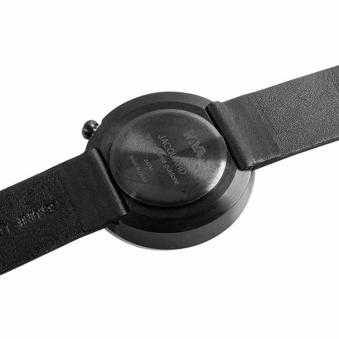 Nava Jacquard Black Leather 39mm angled shot picture