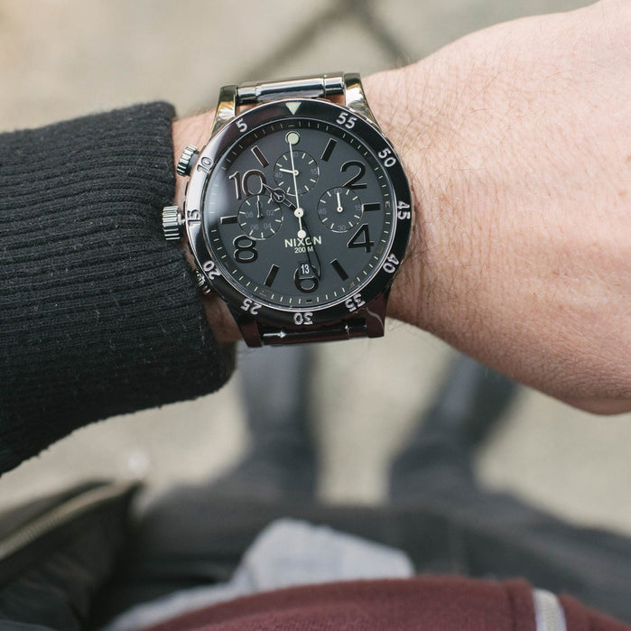 Nixon 48-20 Chrono Polished Gun/Lum angled shot picture