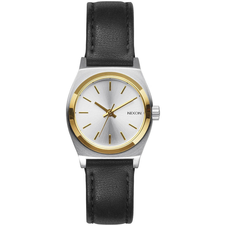 Nixon Small Time Teller Leather Silver Gold Black